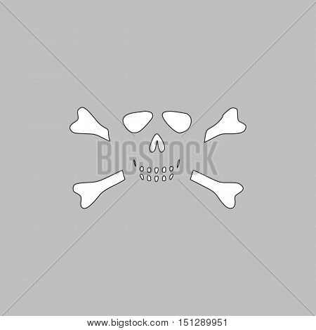 Skull crossbones Simple line vector button. Thin line illustration icon. White outline symbol on grey background