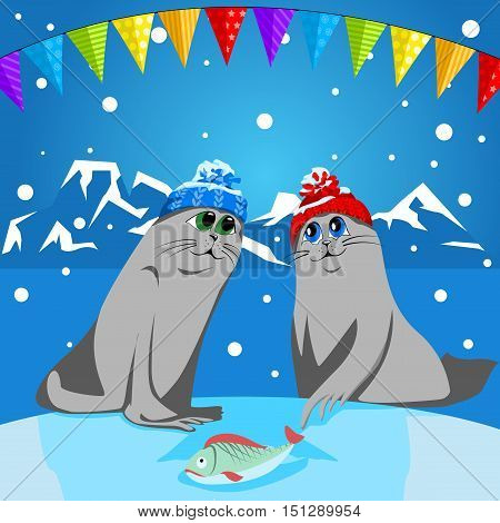 Fur seal pups in colorful hats on a background of a winter landscape. The celebration of Christmas and New Year.