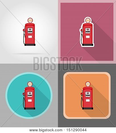 red gasoline filling flat icons vector illustration isolated on backgroun