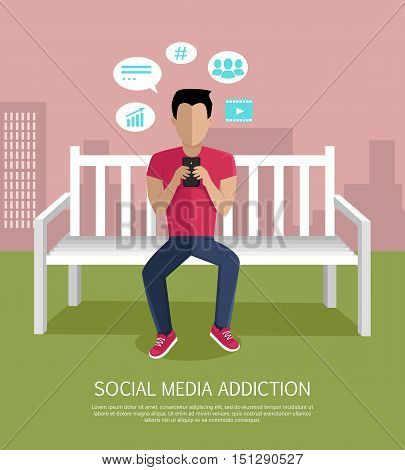 Social media addiction concept vector. Flat design. Man character seated on bench with mobile phone. Social networks icons around. People online communication picture for infographics, web design.