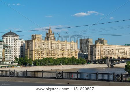 Moscow, Russia -03 June 2016. General view of Smolenskaya Embankment