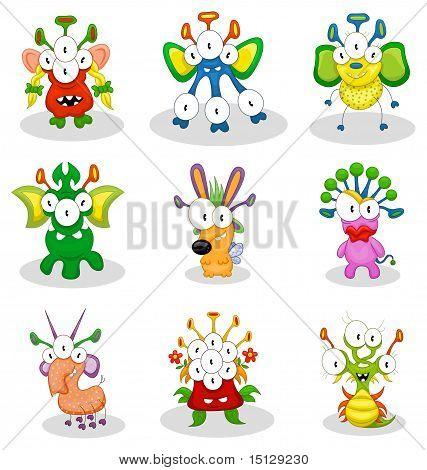 Cartoon monsters, goblins, ghosts