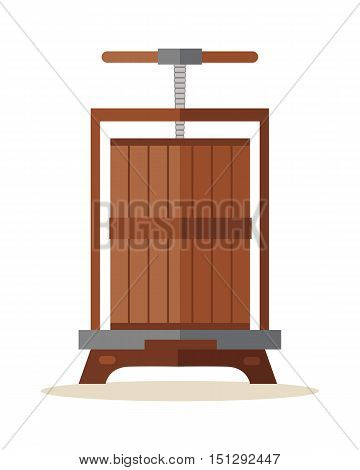 Traditional wooden press for grapes. Old wine press icon. Manual grape crushing machine. Old juice squeezer. Isolated object in flat design on white background. Vector illustration.