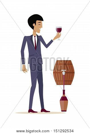 Man with wine in alcohol department store. Consumer tastes wine from wooden barrel. Choosing and buying a bottle of wine for tasting. Part of series of viniculture production and preparation. Vector