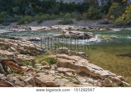Rapids in the River Ardeche in France.