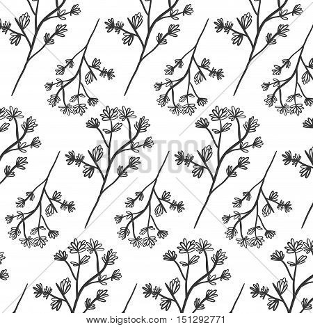 pattern plant with ramifications and flowers vector illustration