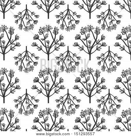 pattern plant with multiple flowers vector illustration