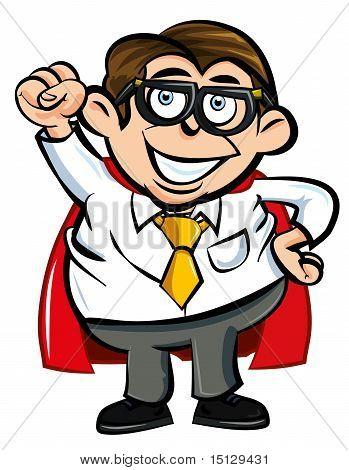 Cartoon Superhero Office Nerd