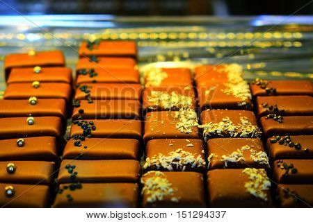Chocolate mix exposed in a confectionery shop
