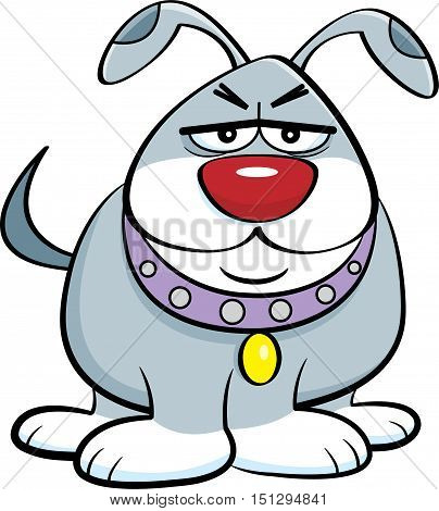 Cartoon illustration of an angry unhappy dog.