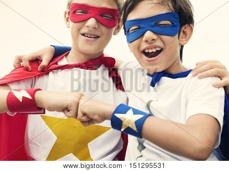 Superheroes Friends Fist Bump Happiness Concept