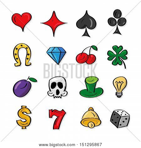Vector illustration collection slot machine symbols. Outline icons. Bell horseshoe clover skull plum diamond cherry dice heart. Isolated on white backgrond. Gambling Elements. Perfect concept for web design and mobile apps