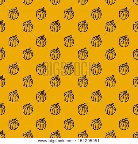 Thanksgiving autumn seamless vector background. Hand drawn pumpkins on yellow. Holiday pattern. Ideal for greeting card design restaurant menu cover textile print web design internet pages wrapping scrap booking. Repeatable food texture.