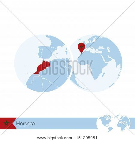 Morocco On World Globe With Flag And Regional Map Of Morocco.