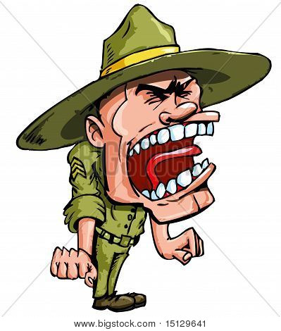 Angry Cartoon Drill Sergeant