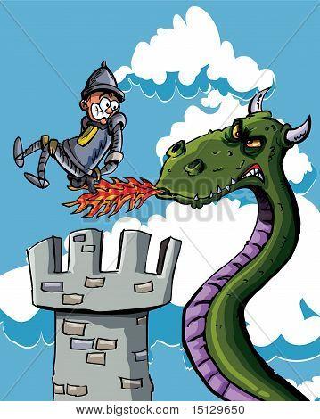 Cartoon Knight Burnt On His Bum By A Dragon