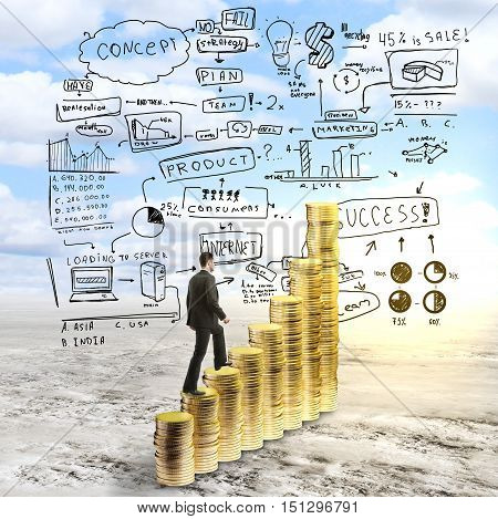 Side view of businessman in suit climbing abstract golden coin ladder on landscape background with business sketch. Success concept