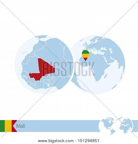 Mali On World Globe With Flag And Regional Map Of Mali.
