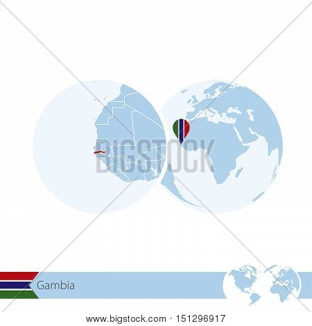 Gambia On World Globe With Flag And Regional Map Of Gambia.