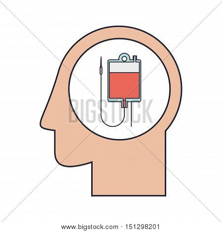 Silhouette head human with bag for blood vector illustration