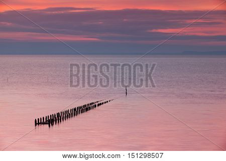 View of oyster farm after high tide in the Atlantic Ocean Cancale BrittanyFrance