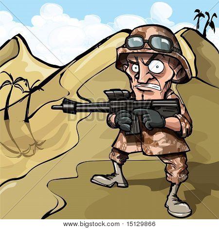 Cartoon Soldier In The Desert