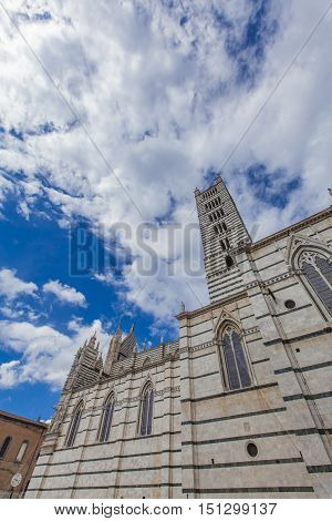 Exteriors and architectural details of the Duomo Siena cathedral Italy