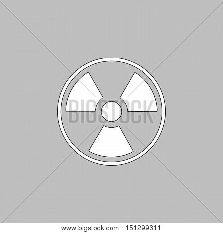 Radiation Simple line vector button. Thin line illustration icon. White outline symbol on grey background
