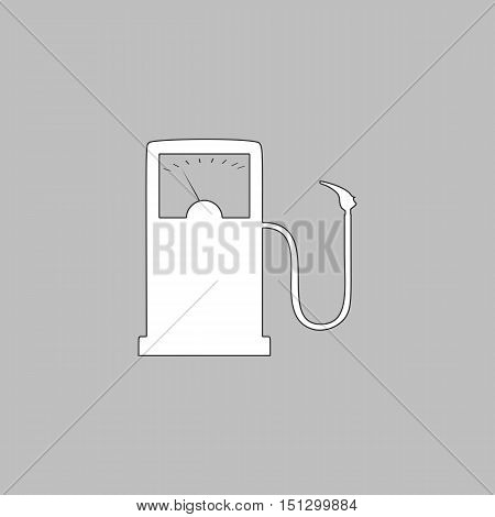 Gas station Simple line vector button. Thin line illustration icon. White outline symbol on grey background