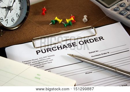 purchase order on office table, business concept