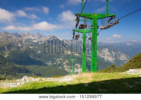 Vogel ski center in the mountains in summer day.Views of the Julian Alps in Slovenia Europe