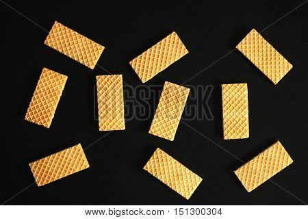 Useful wafers lying on the black table