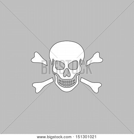 Skull Simple line vector button. Thin line illustration icon. White outline symbol on grey background