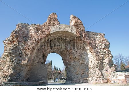 The Main Gate of the fotress wall in Hissar, Bulgaria (close up)