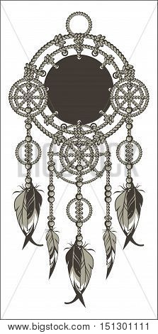 Native American Dreamcatcher protective amulet from the ropes and beads on a white background