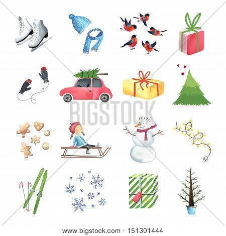 Set of colorful christmas elements and decorations isolated on white bacground. Christmas graphic elements, vector illustration for greeting cards, scrapbooking elements