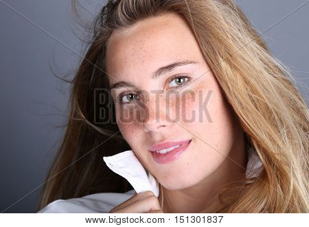 Very cute Image of a young woman in studio