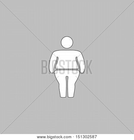 fatty Simple line vector button. Thin line illustration icon. White outline symbol on grey background