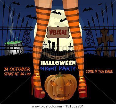 Halloween night party. Halloween poster design. Vector illustration