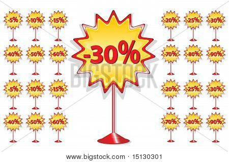 Set Of Red And Yellow Sale Icons On Stand - Discount Percentage