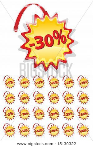 Set Of Red And Yellow Sale Icons On A Flexible Suspension - Discount Percentage