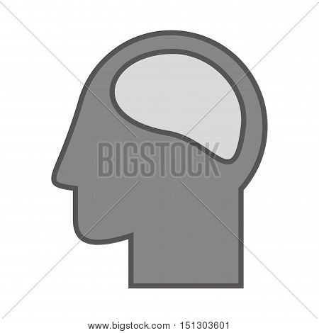 Silhouette head and human brain vector illustration