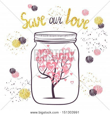Love vector illustration. Tree with leaves as hearts in glass jar. Love concept. Wedding anniversary card design.