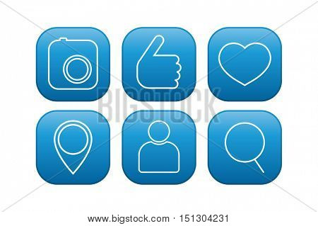 social media web icons - photo camera. thumbs up, heart, pin map, user and search zoom glass