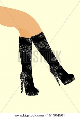Part of the female leg sensor detects the knee boots with a with high heels