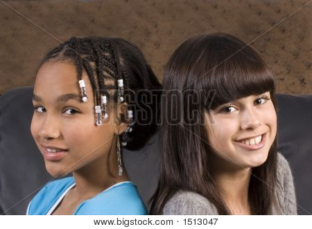 Cute African American Girl With Caucasian Girl Freind