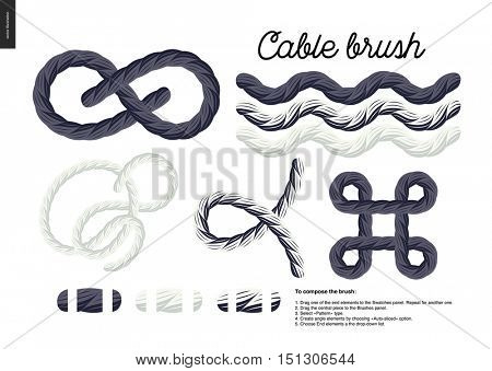 Cable brush - rope element vector brush with end elements, and few usage examples - knots, loops, frames.