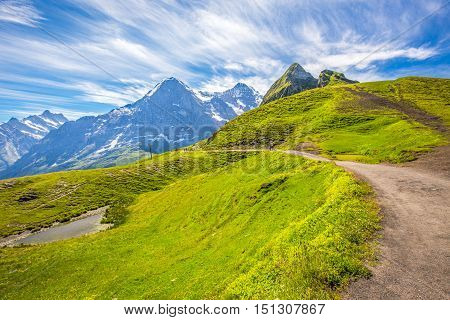 Panorama Trail Leading To Kleine Scheidegg From Mannlichen With Eiger, Monch And Jungfrau Mountain (