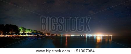 The beach on the island of Mallorca night. sea view, beach and starry sky