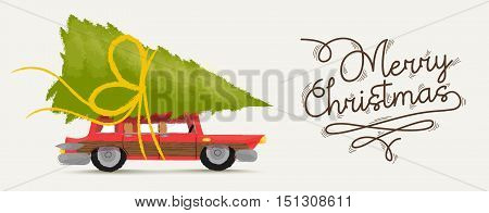 Merry Christmas Illustration Of Retro Holiday Car